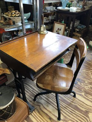 Antique wood school desk with chair for Sale in West Columbia, SC