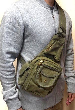 Brand NEW! Olive Green Crossbody/Shoulder/Side Bag/Sling Bag/Satchel/Pouch For Traveling/Gym/Hiking/Fishing/Biking/Motorcycles/Gifts $18 for Sale in Carson, CA