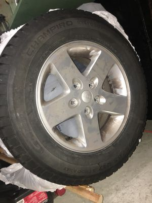 Like new Jeep Wrangler winter wheel and tire set for Sale in Sudbury, MA