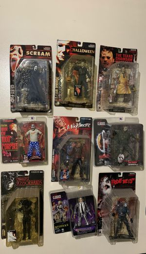 HORROR MOVIE COLLECTION FRIDAY THE 13TH NIGHTMARE ON ELM STREET BEETLE JUICE EDWARD SCISSOR HANDS HOUSE OF 1000 CORPSES HALLOWEEN ACTION FIGURES COLL for Sale in Los Angeles, CA