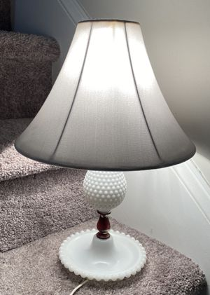 Vintage Antique White Hobnail Milk Glass Fenton Bed Table Lamp for Sale in Chapel Hill, NC