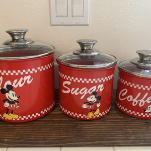 Vintage 3pc Disney Mickey Mouse Canister Set ! Hard To Find ! Please No Low Offers ! for Sale in Newport Beach, CA