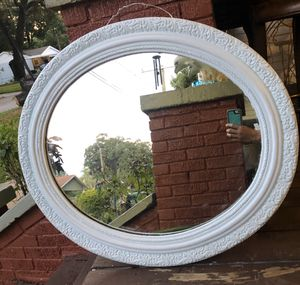 Vintage shabby chic oval mirror metal backing for Sale in Tampa, FL