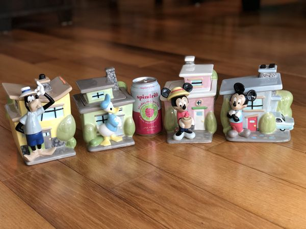VINTAGE DISNEY KITCHEN CANISTER SET URBAN HOUSE TOONTOWN -MICKEY, MINNIE, GOOFY& DONALD