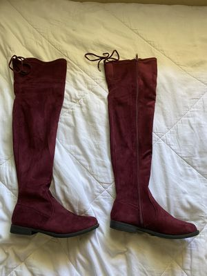 Burgundy, Knee-high Boots, Size 7 Women for Sale in Stockton, CA