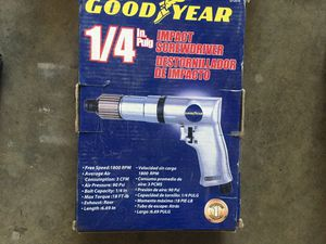 Air tools. Goodyear. Impact screwdriver and air hammer with bits. Brand new in box. for Sale in Corona, CA