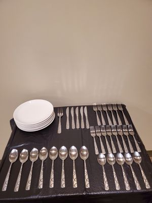 "EATING / SERVING UTENSILS (64 pieces) + 9.5"" DINNER PLATES + CUTLERY CADDY (pls. see all photos) - firm price. for Sale in Alexandria, VA"
