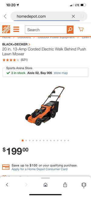 BLACK+DECKER 20 in. 13-Amp Corded Electric Walk Behind Push Lawn Mower for Sale in San Diego, CA