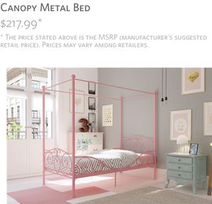 ⭐️NEW In box Whimsical Twin Metal canopy Bed(pink) ⭐️PICK UP BY ASHLAN AND TEMPERANCE IN CLOVIS for Sale in Clovis, CA