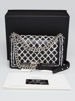 CHANEL Black Quilted Leather White Sequin Stitch Medium Boy Bag for Sale in San Francisco, CA