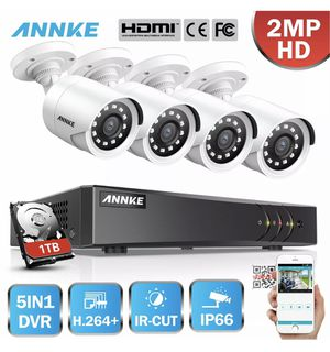 ANNKE 1080P Lite 5in1 8CH DVR 2MP TVI Outdoor CCTV Security IR Camera System 1TB for Sale in Whittier, CA