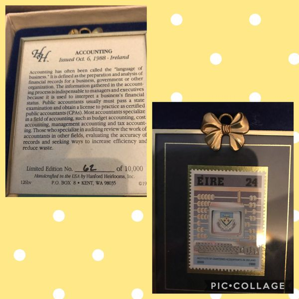 VGC Boxed Hanford Heirloom Collector Stamp : $8. Accounting Stamp # 62 of 10k Walgreens Oakland Canada rd wolfchase Kirby whitten and stage once