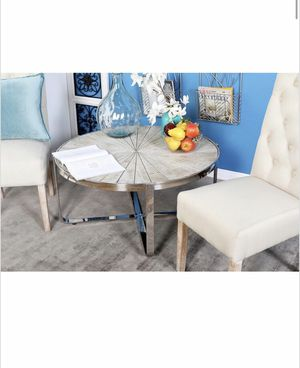 Contemporary Pine Wood & Stainless Steel Radial Coffee Table for Sale in Hawthorne, CA