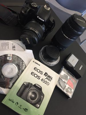 Canon EOS 450D Rebel XSI 2 lens, 2 batteries and more for Sale in Nashville, TN