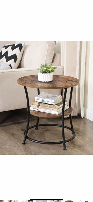 Side Table, Round End Table with 2 Shelves, Living Room, Bedroom, Easy Assembly, Metal, Industrial Design, Rustic Brown for Sale in Chino, CA