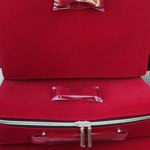 Brand New SET OF 3 Estée Lauder Red Velvet Perfume Makeup Gifts Vanity Train Style Cases for Sale in Upland, CA