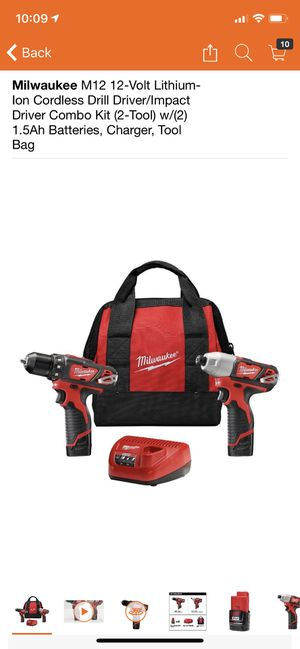 Milwaukee M12 12-Volt Lithium-Ion Cordless Drill Driver/Impact Driver Combo Kit (2-Tool) w/(2) 1.5Ah Batteries, Charger, Tool Bag for Sale in Philadelphia, PA