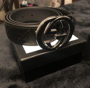 "New in box Gucci ""Guccisma"" black leather men's designer belt silver buckle size 30-34 for Sale in Redmond, WA"