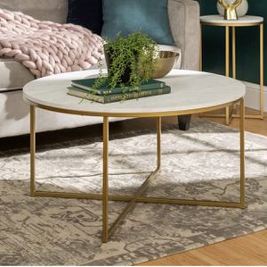 Faux Marble Top Coffee Table w/ Gold Legs - $130 for Sale in Los Angeles, CA
