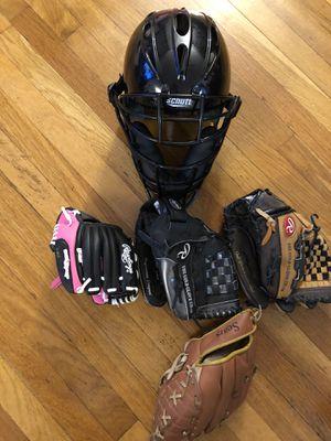 Baseball gloves and helmet ⛑ for Sale in Providence, RI