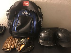 Baseball bag gloves and helmets for Sale in Phoenix, AZ