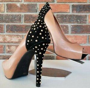 ALDO Beige Suede with Black Patent Leather Stiletto for Sale in Baldwin Hills, CA