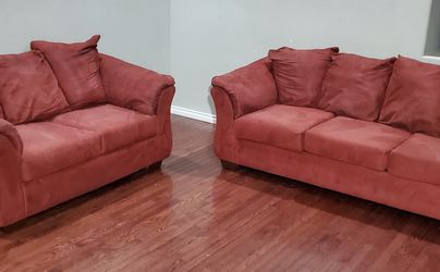 Ashley Furniture Darcy Red Microfiber 3-Seat Couch & Loveseat Set for Sale in West Linn,  OR