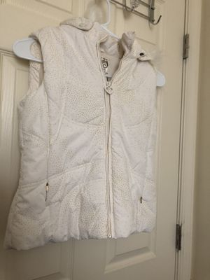 White sparkle vest with soft fur lining size 10-12 youth for Sale in Reston, VA
