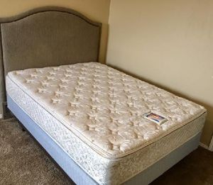 Queen Bed : headboard , Sealy pillow top mattress , box and frame...good clean stain free condition from a smoke free home. for Sale in Wylie, TX