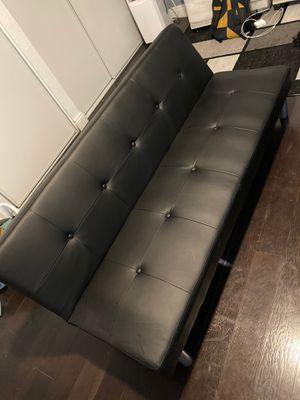 Black leather futon for Sale in Rialto, CA