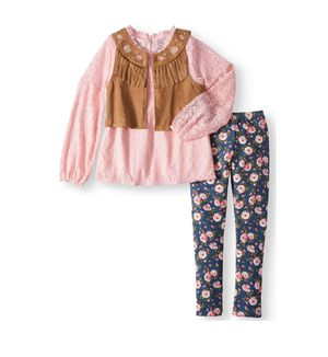 Brand new Girls boho vest lace top and legging 3 -piece outfit set size L(10/12) (pick up only) for Sale in Alexandria, VA