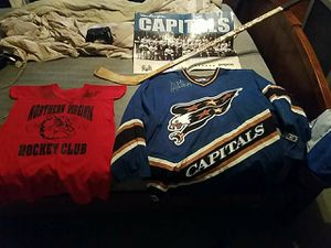 Washington capitals signed jeresy from the 98-99 teams hockey stick signed and also practice jersey signed for Sale in Damascus, MD