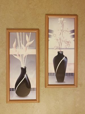 2 Matching Vintage Art Deco Pastel Carlos Rios Art Prints Wall Art with Frame for Sale in Los Angeles, CA