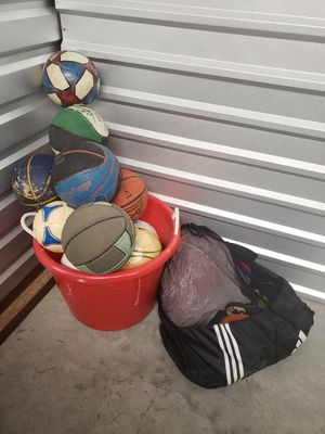 Variety of balls and soccer net for Sale in Afton, OK
