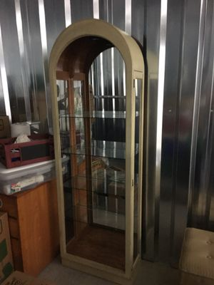 Repurposed lighted curio cabinet with glass shelves for Sale in High Point, NC