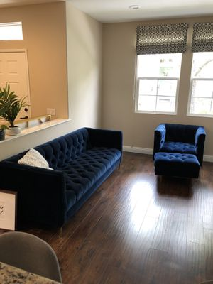 Macy's mid-mod tufted blue velvet couch and chair w/ottoman. Gently used, meticulously cared for. for Sale in Aliso Viejo, CA