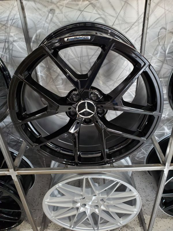"""Gloss black mercedes AMG style wheels fit S Class E class 19"""" staggered rim wheel tire shop"""