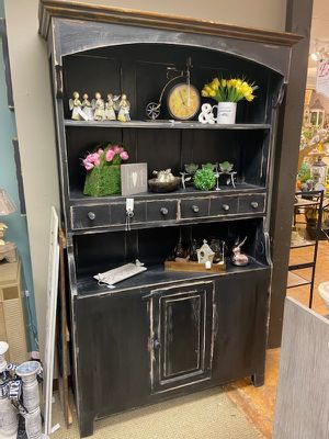 Farmhouse Black Distressed China Hutch for Sale in Cary, NC
