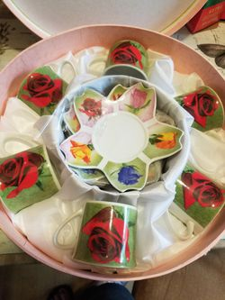 Tea cups and cake holder for Sale in Sudley Springs,  VA