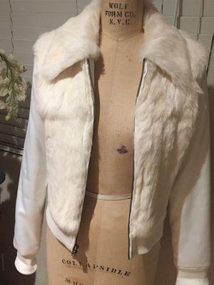 Bebe jeans white fur jacket coat blazer medium m for Sale in Mount Baldy, CA
