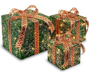 Set of 3 GREEN Gift Boxes with Clear Lights Holiday Decor for Sale in Los Angeles, CA