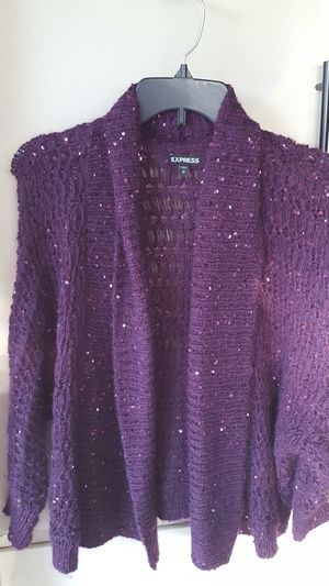Express Plum/ Sequin cardigan for Sale in Southgate, MI