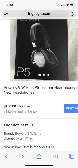 BOWERS &WILKINS P5 Leather Headphones Bluetooth for Sale in San Jose, CA