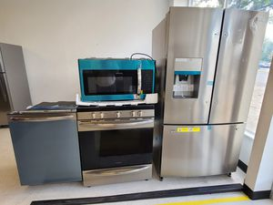 Frigidaire stainless steel French door refrigerator, gas stove, dishwasher & microwave new with 6month's warranty for Sale in Mount Rainier, MD