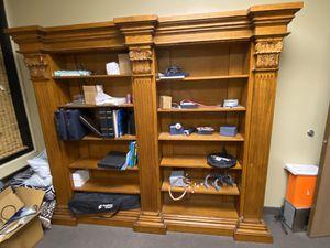 Pure oak hand carved bookshelves - OBO for Sale in Corona, CA