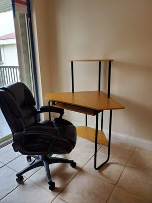 Corner Desk and Black Office Chair for Sale in Plantation, FL