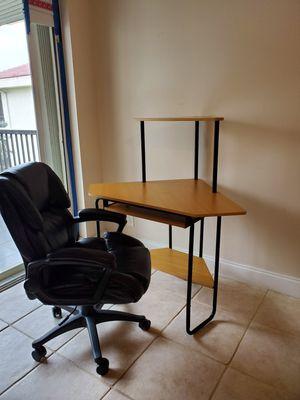 Corner Desk and Black Office Chair for Sale in Davie, FL