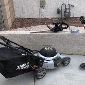 """Task Force Electric Lawn Mower With Bag . Black & Decker Electric Weed eater With Xtra Line. Black & Decker 17"""" Hedge Trimmer for Sale in Las Vegas, NV"""