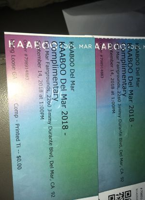 2 tickets to KABOO! for Sale in San Diego, CA