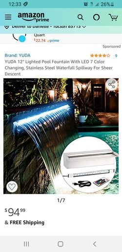 """YUDA 12"""" Lighted Pool Fountain With LED 7 Color Changing, Stainless Steel Waterfall Spillway For Sheer Descent for Sale in Tucson,  AZ"""